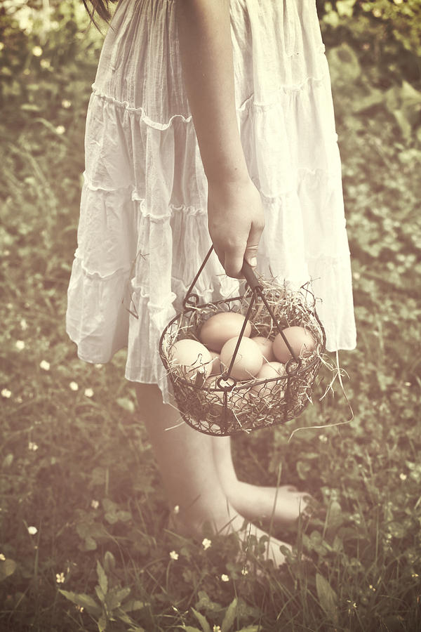 Girl Photograph - Eggs by Joana Kruse