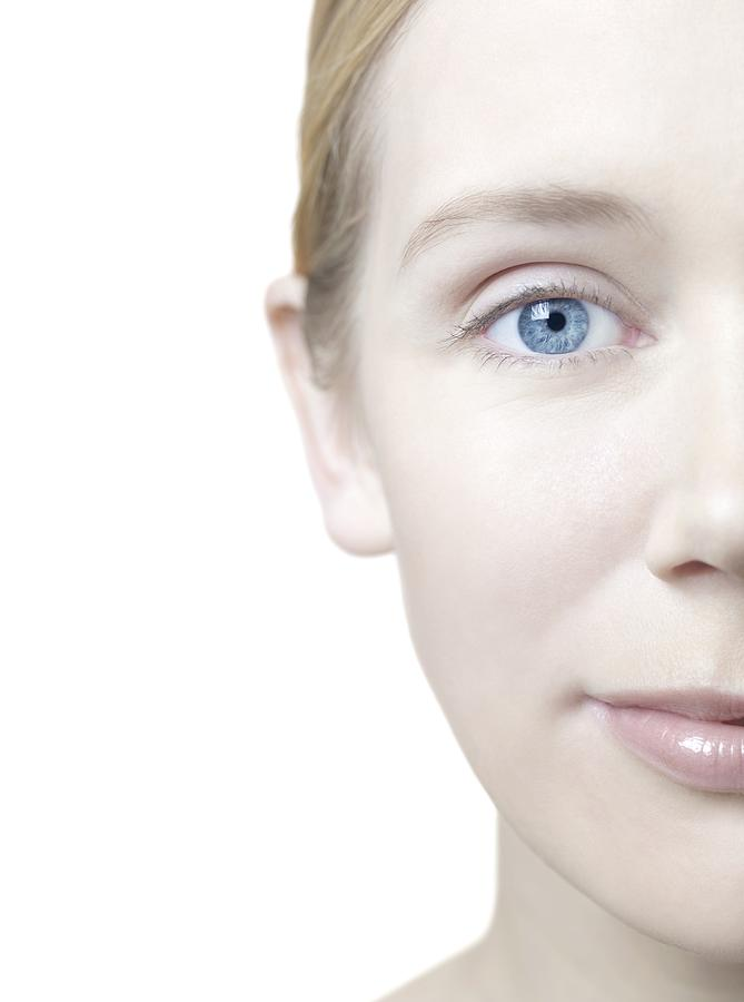 White Background Photograph - Healthy Womans Face by