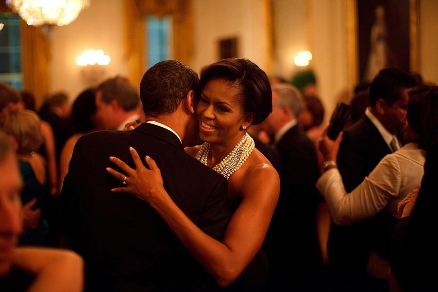 History Photograph - President And Michelle Obama Dance by Everett