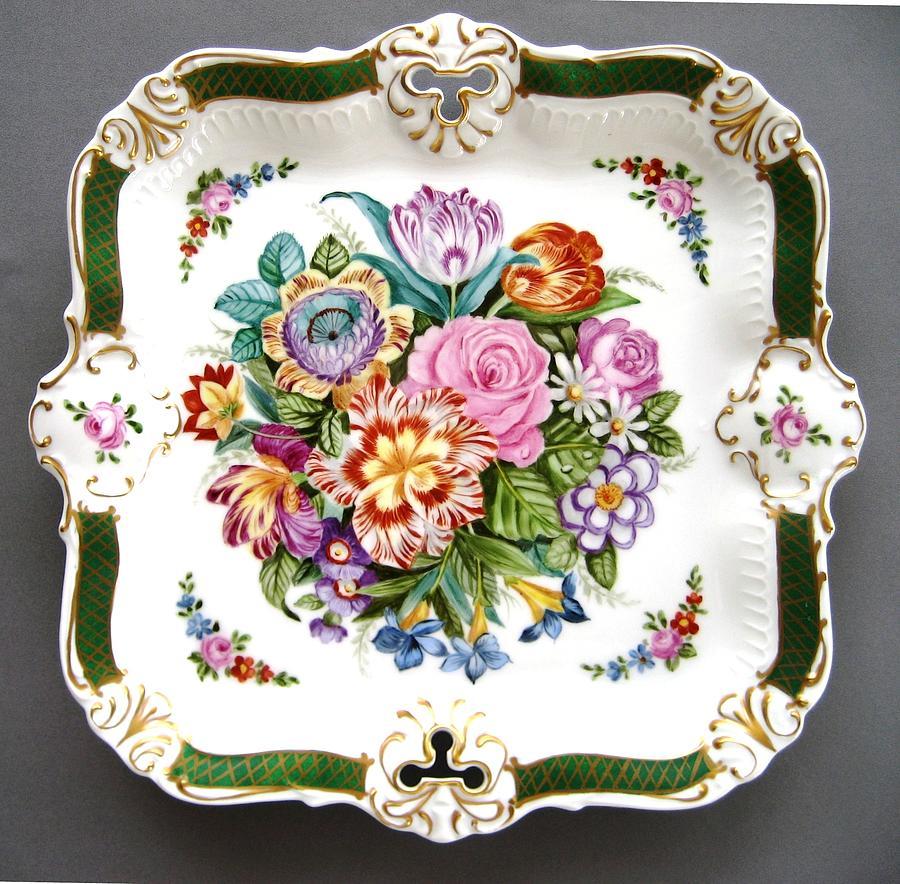 Porcelain Ceramic Art - 814 Sevres Fancy Plate by Wilma Manhardt