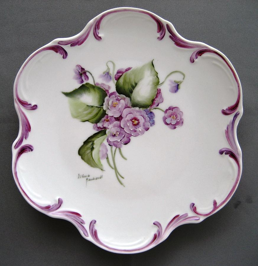 Porcelain Ceramic Art - 858  Plate With Double Violets by Wilma Manhardt