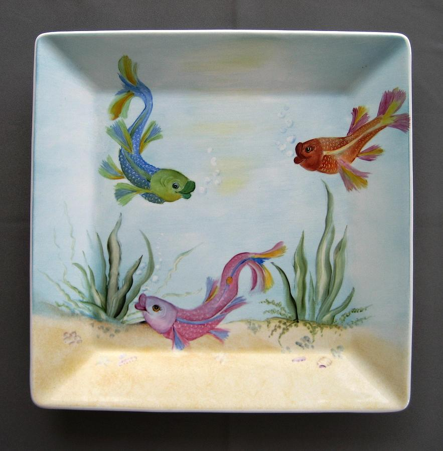 Porcelain Ceramic Art - 865 Square Fish-plate by Wilma Manhardt