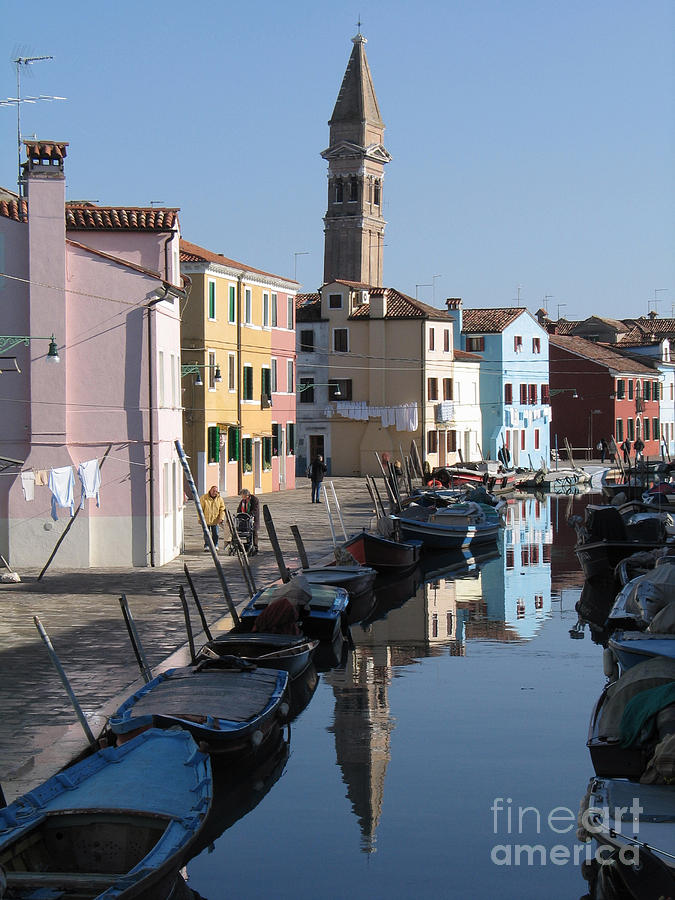 Canal Photograph - Burano.venice by Bernard Jaubert