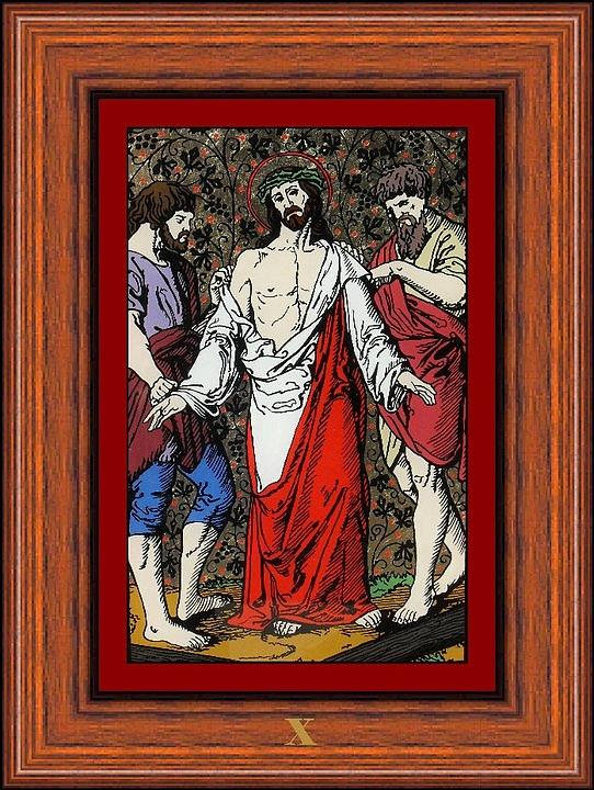X - Iisus Este Dezbr�cat De Haine (jesus Is Stripped Of His Garments) - Icoana Pictata In Ulei Cu Foita De Aur Pe Sticla (icon Painted In Oil With Gold Leaf On Glass )  Painting - Drumul Crucii - Stations Of The Cross  by Buclea Cristian Petru