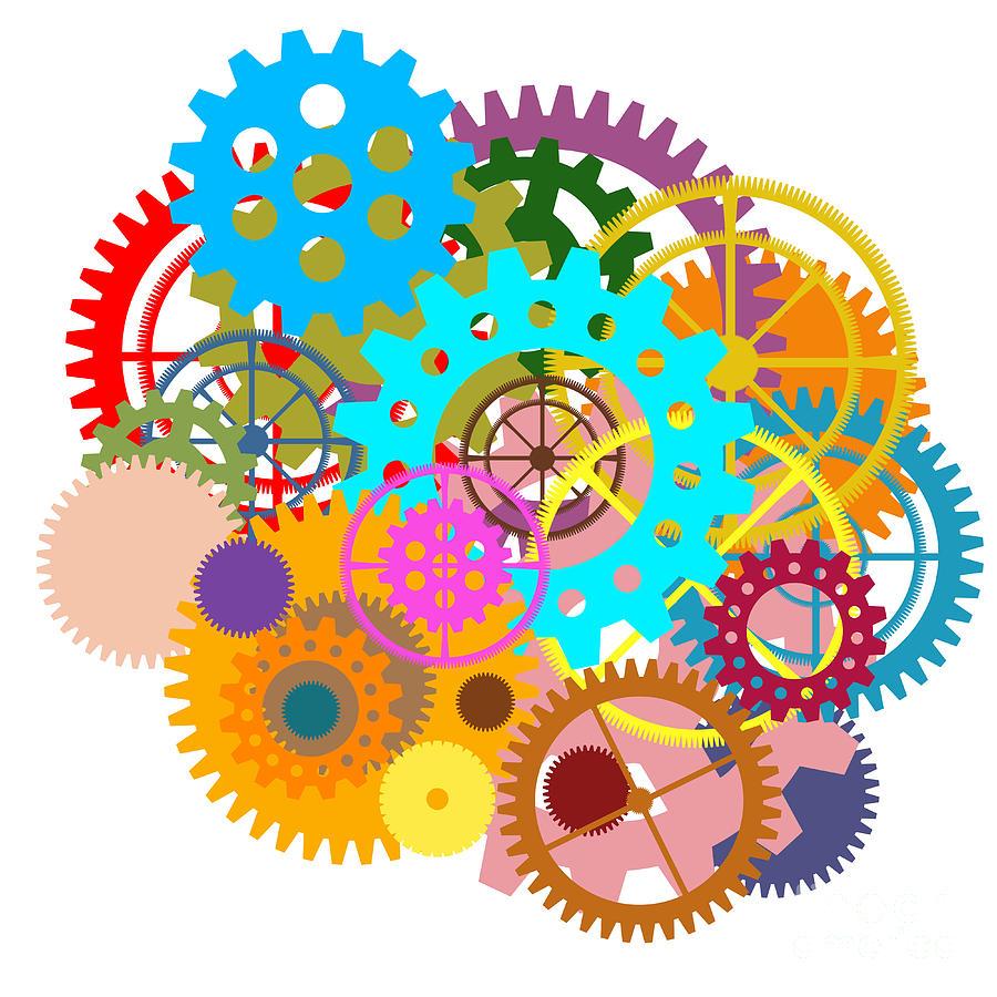 Background Painting - Gears Wheels Design  by Setsiri Silapasuwanchai