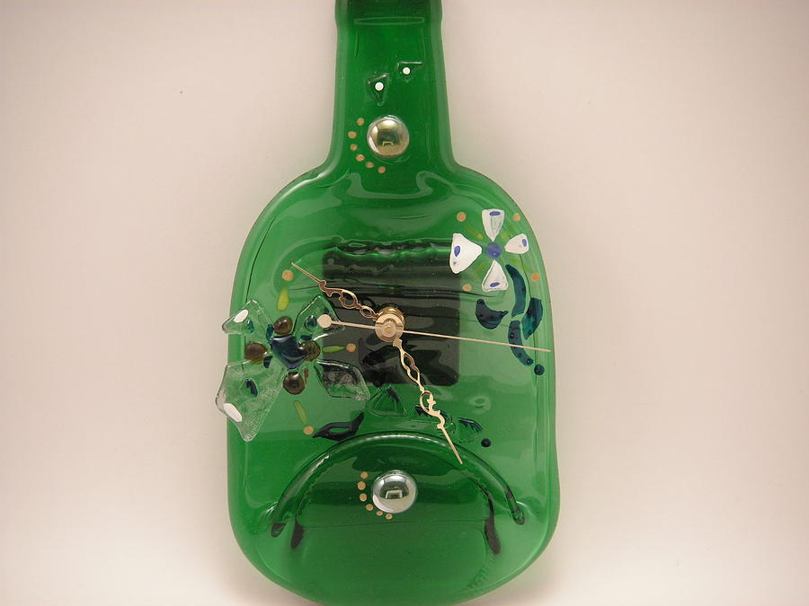 Mixed Media Glass Art - Glass Clock by ALEXANDR and NATALIA GORBACHEV