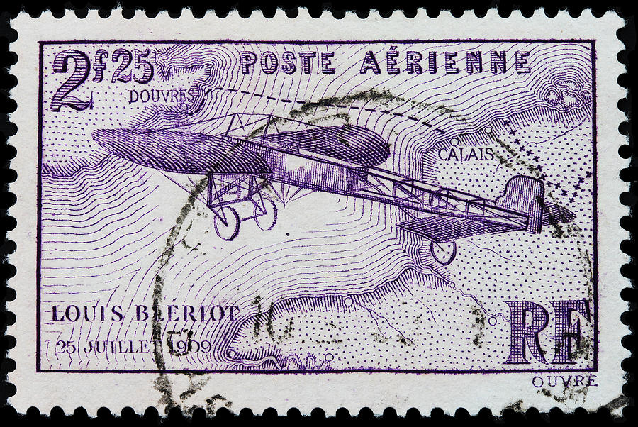 Louis Bleriot Photograph - old French postage stamp by James Hill