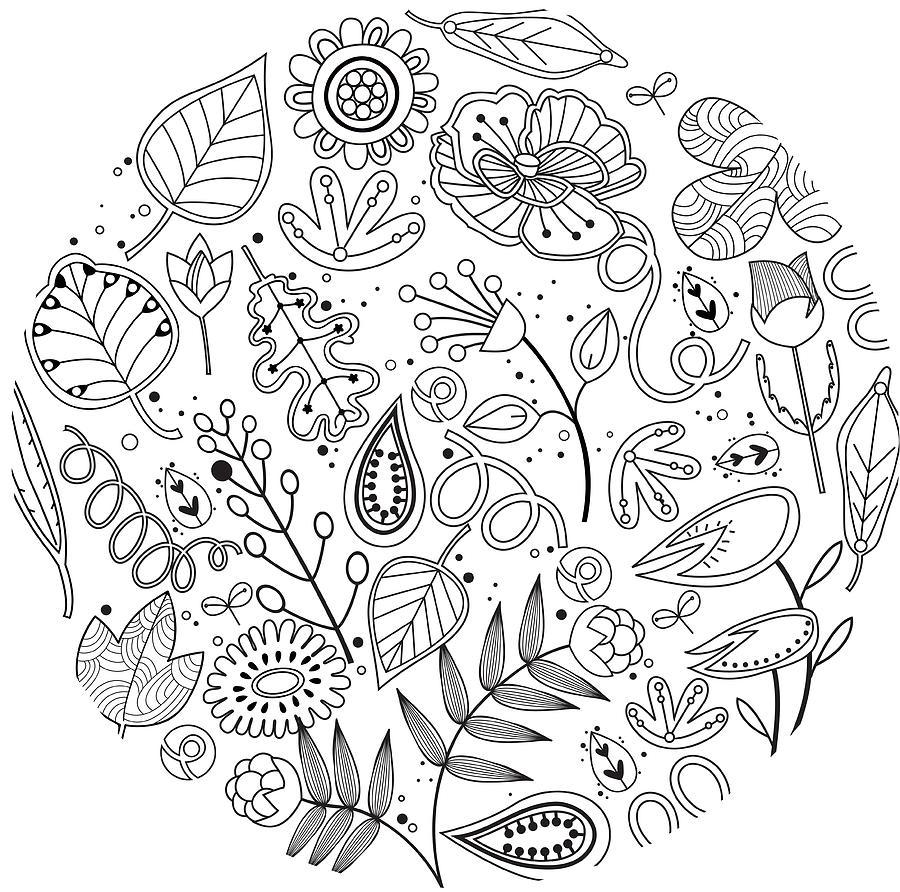 Horizontal Digital Art - Various Plants Patterns by Eastnine Inc.