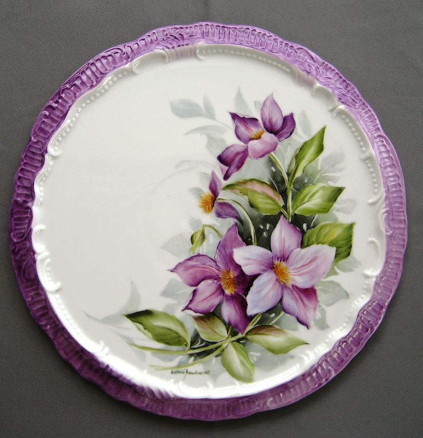 Porcelain Ceramic Art - 937 Tea Tile With Clematis  by Wilma Manhardt