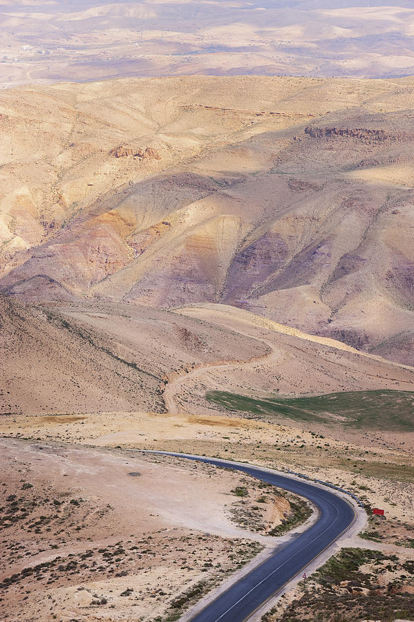 Vertical Photograph - A Bend In A Desert Road Near Mount Nebo by Martin Child
