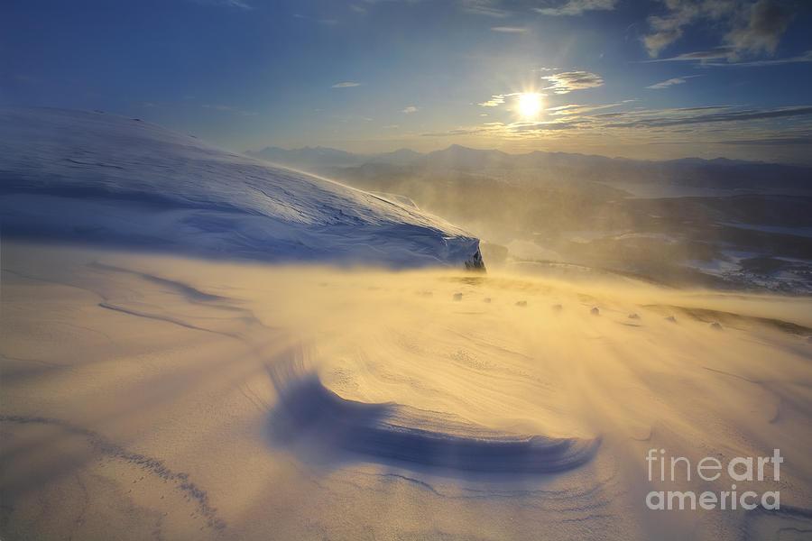 Golden Photograph - A Blizzard On Toviktinden Mountain by Arild Heitmann