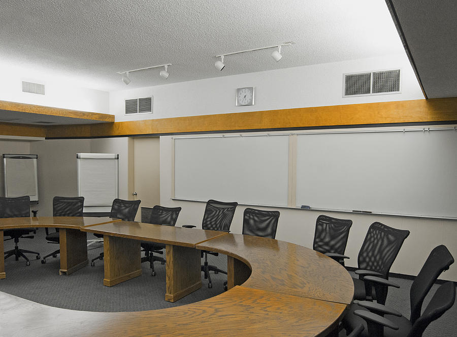 No People Photograph - A Boardroom With An Oval Table by Marlene Ford