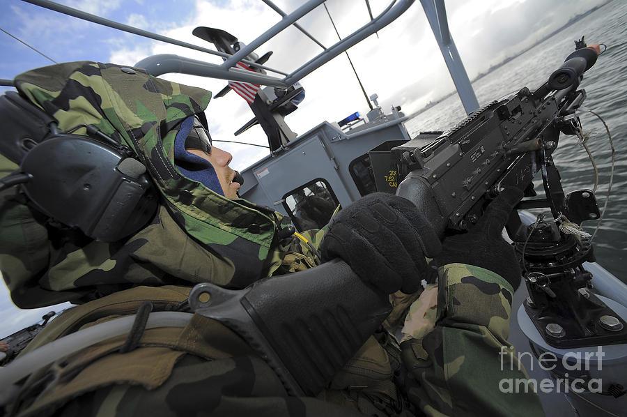 A Boat Crewman Gunner Mans An M 240b Photograph By