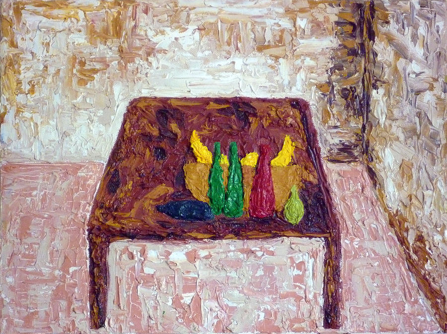 Fruit Painting   A Bowl Of Fruit On A Wooden Table By Peter Silkov