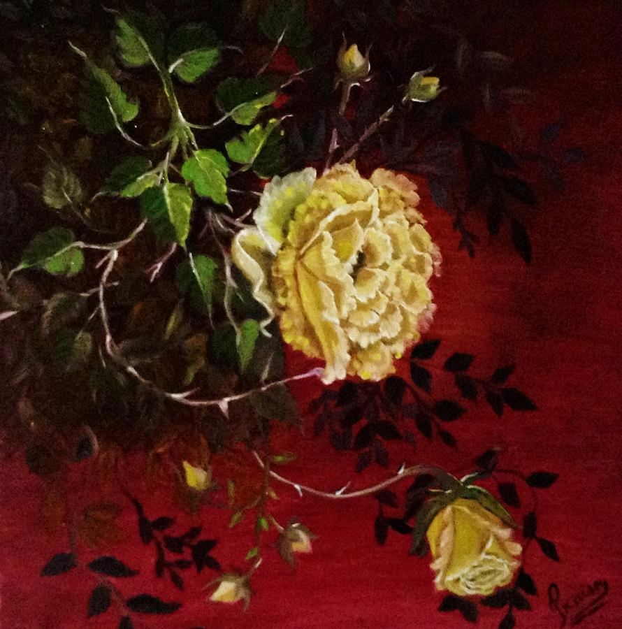 Yellow Painting - A Bright Hope Yellow Roses by Praisey Peter