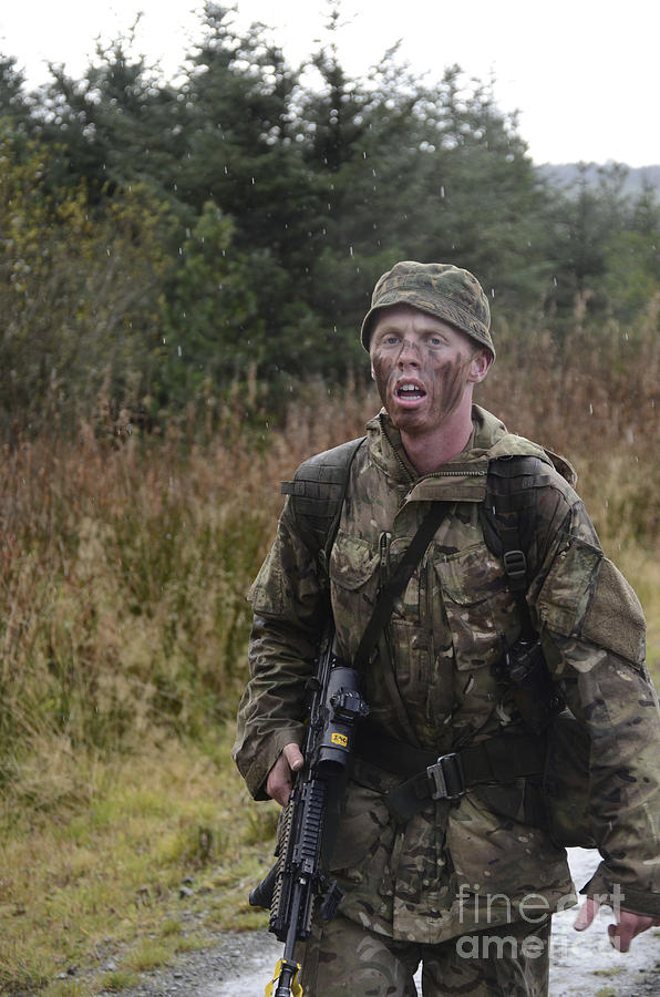 United Kingdom Photograph - A British Soldier During Exercise by Andrew Chittock