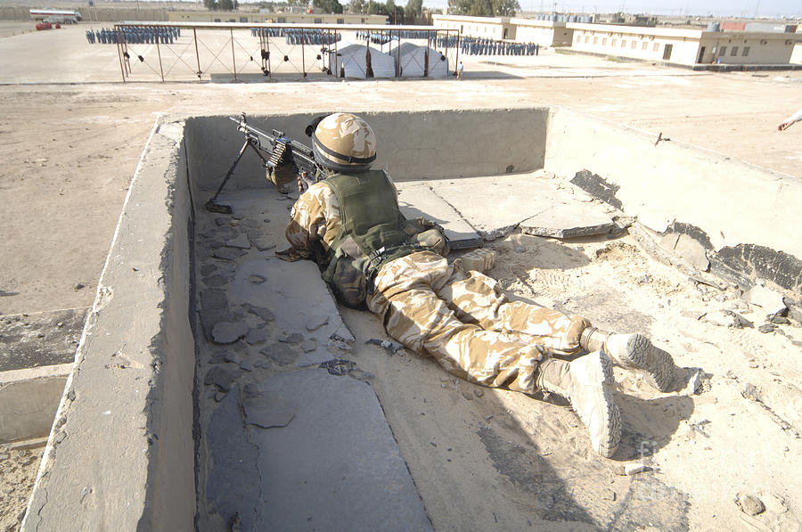 Iraq Photograph - A British Soldier Provides Security by Andrew Chittock