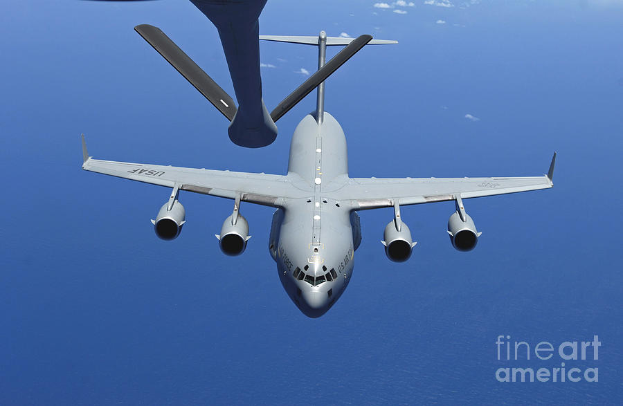 Aerial Photograph - A C-17 Globemaster IIi Approaches by Stocktrek Images