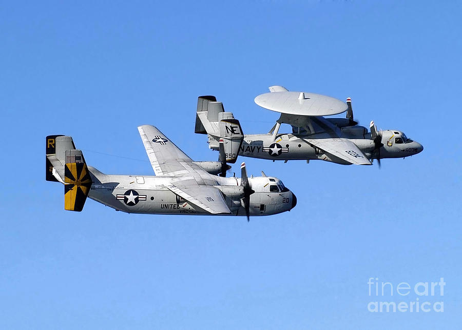 Horizontal Photograph - A C-2a Greyhound And A E-2c Hawkeye by Stocktrek Images