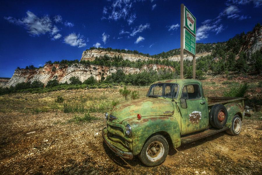 Chevy Photograph - A Chevy And Checkerboard Mesa by Christine Annas