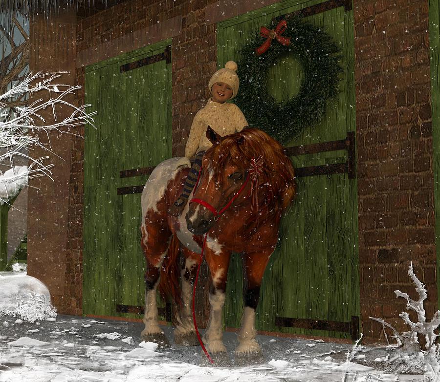 Pony Digital Art - A Christmas Pony by Heather Douglas