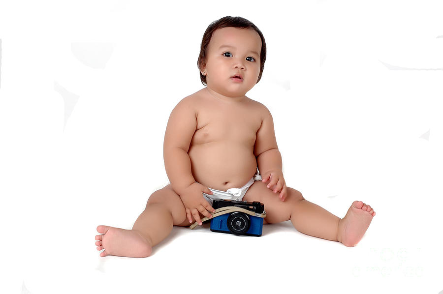 Baby Photograph - A Chubby Little Girl Sit With A Vintage Camera  by Antoni Halim