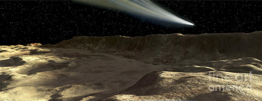 Color Image Digital Art - A Comet Passes Over The Surface by Ron Miller
