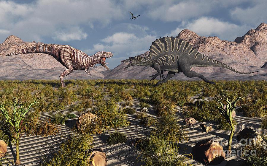 Spine Digital Art - A Confrontation Between A T. Rex by Mark Stevenson