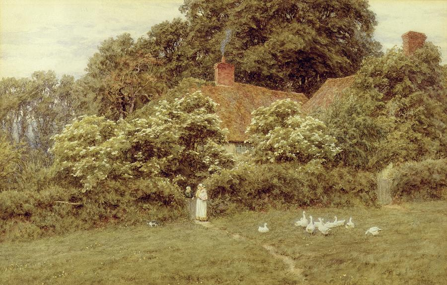 Mother And Child; Gate;rural Scene; Country; Countryside; Home; House; Path; Picturesque ;idyllic; Female; Friends; Geese; Female Painting - A Cottage At Farringford Isle Of Wight by Helen Allingham