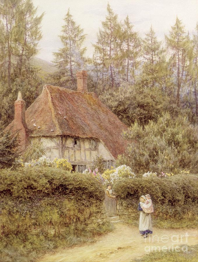 Helen Allingham Painting - A Cottage Near Haslemere by Helen Allingham