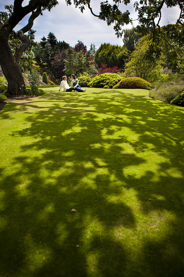 Two People Photograph - A Couple Sits On A Dappled Lawn by Taylor S. Kennedy