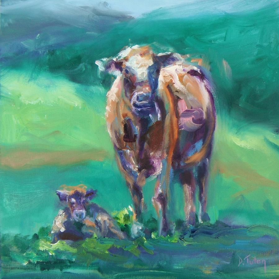 Donna Tuten Painting - A Cow And Her Calf by Donna Tuten