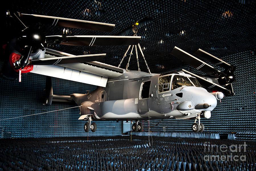 Eglin Air Force Base Photograph - A Cv-22 Osprey Hangs In A Anechoic by Stocktrek Images