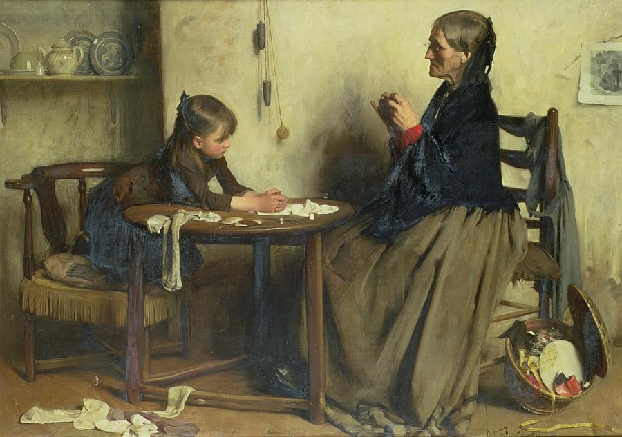 Child Painting - A Difficulty by Arthur Hacker