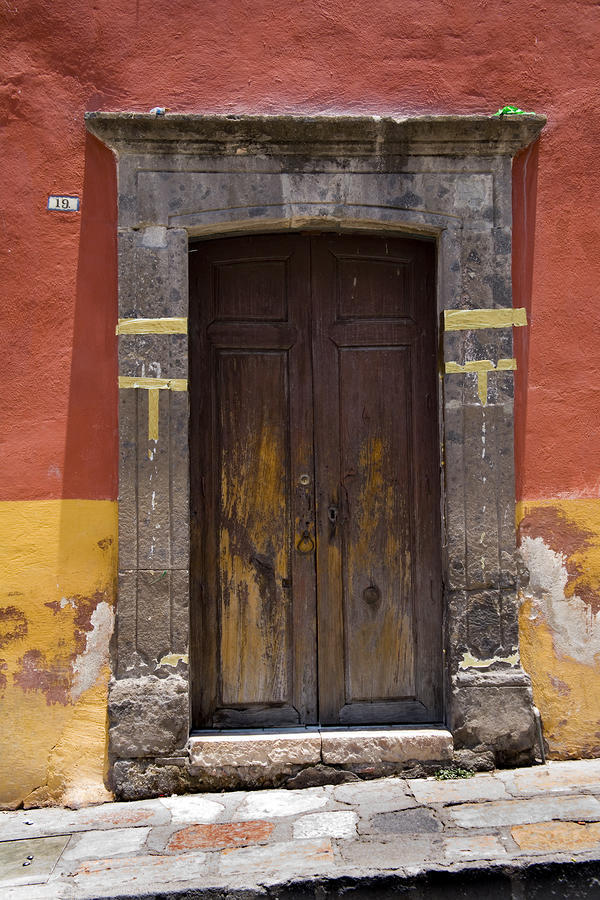 Mexico Photograph - A Door In A Painted Building by David Evans
