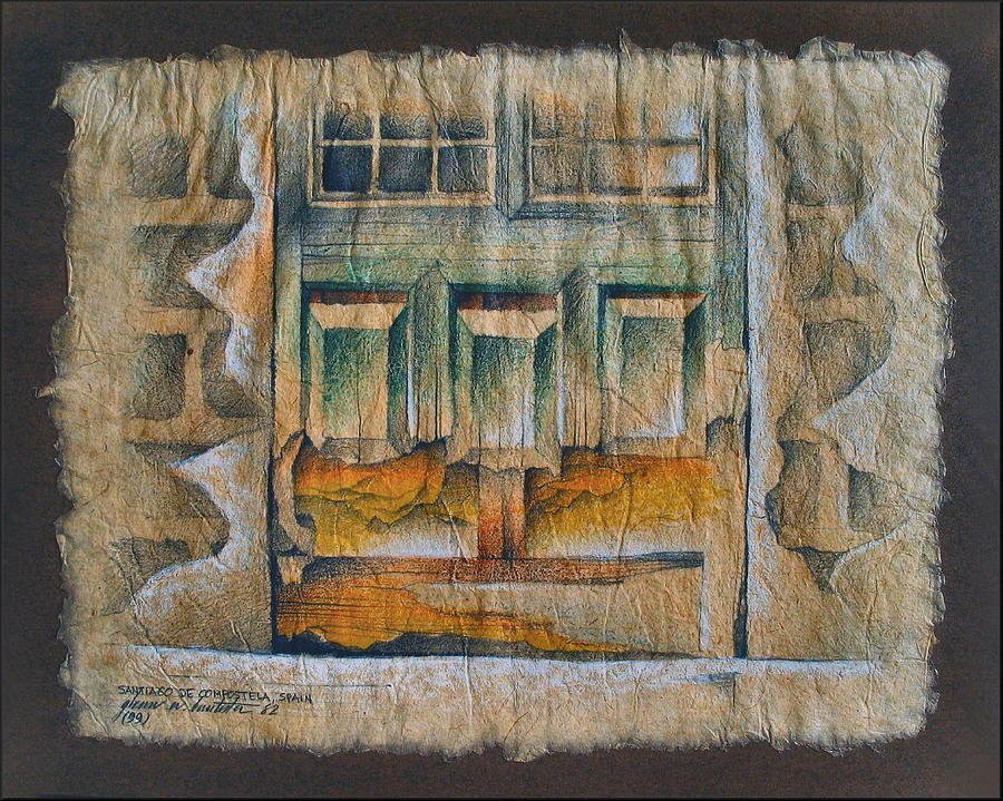 Dilapidated Drawing - A Door In Compostela1982 by Glenn Bautista