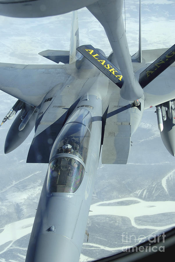 Adults Only Photograph - A F-15 Eagle Receives Fuel by Stocktrek Images