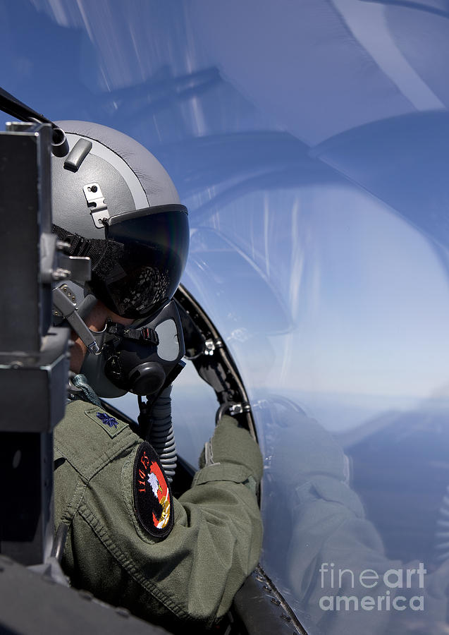 Color Image Photograph - A F-15 Pilot Looks Over At His Wingman by HIGH-G Productions