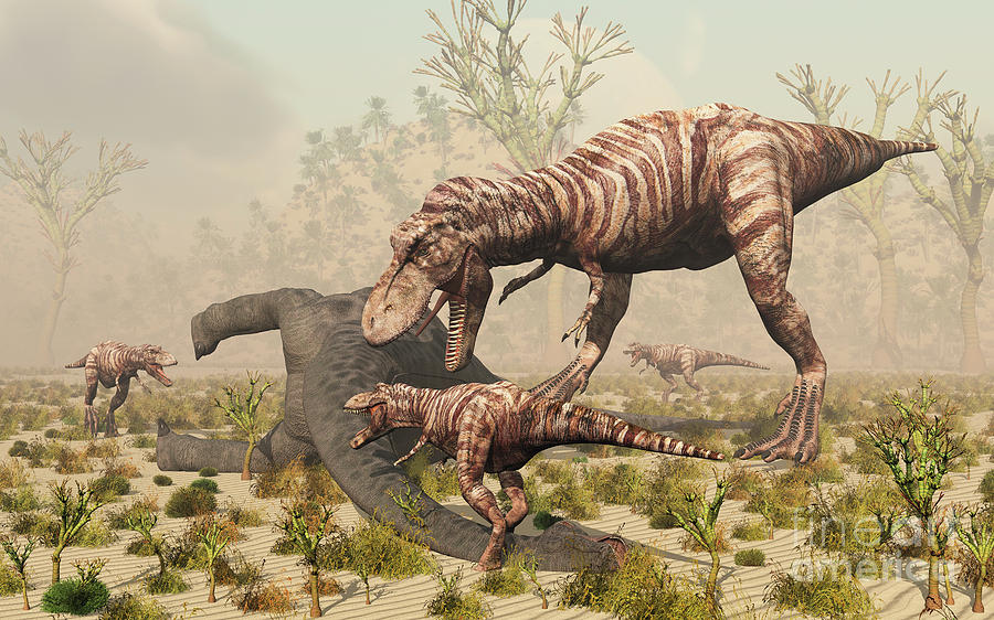 A family of t rex dinosaurs feed digital art by mark for T rex family