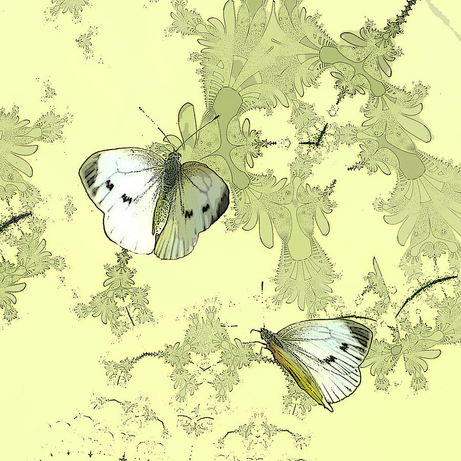 Butterflies Digital Art - A Feuilles Vertes  by Sharon Lisa Clarke