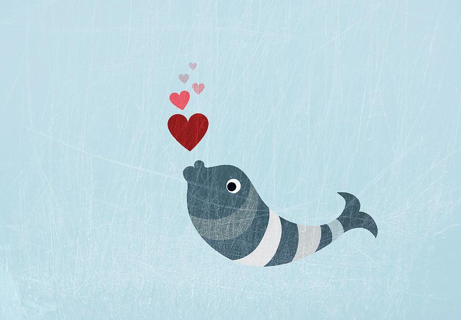 A Fish Blowing Love Heart Bubbles Digital Art by Jutta Kuss