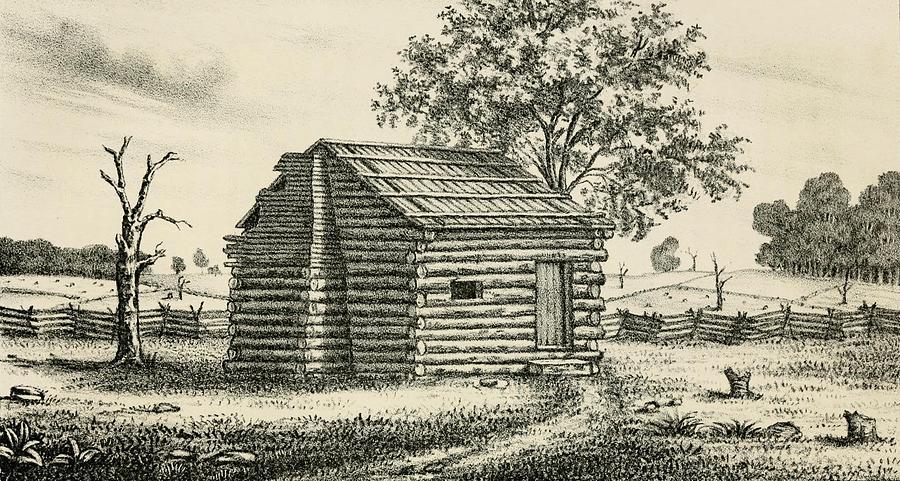 History Photograph - A Frontier Presbyterian Church. The Log by Everett