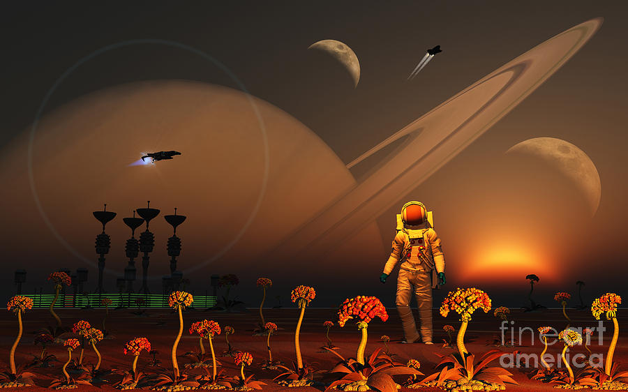 Planets Digital Art - A Futuristic Outpost On The Moon by Mark Stevenson