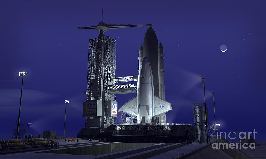 Space Exploration Digital Art - A Futuristic Space Shuttle Awaits by Walter Myers