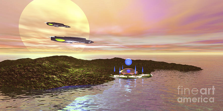Outer Space Digital Art - A Futuristic World On Another Planet by Corey Ford
