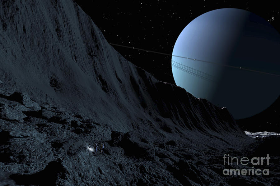 Color Image Digital Art - A Gigantic Scarp On The Surface by Ron Miller