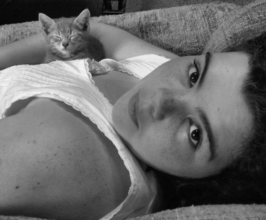 Girl Photograph - A Girl And Her Kitten by Juliana  Blessington