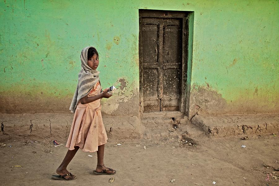 Poverty Photograph - A Girl By A Door by Valerie Rosen