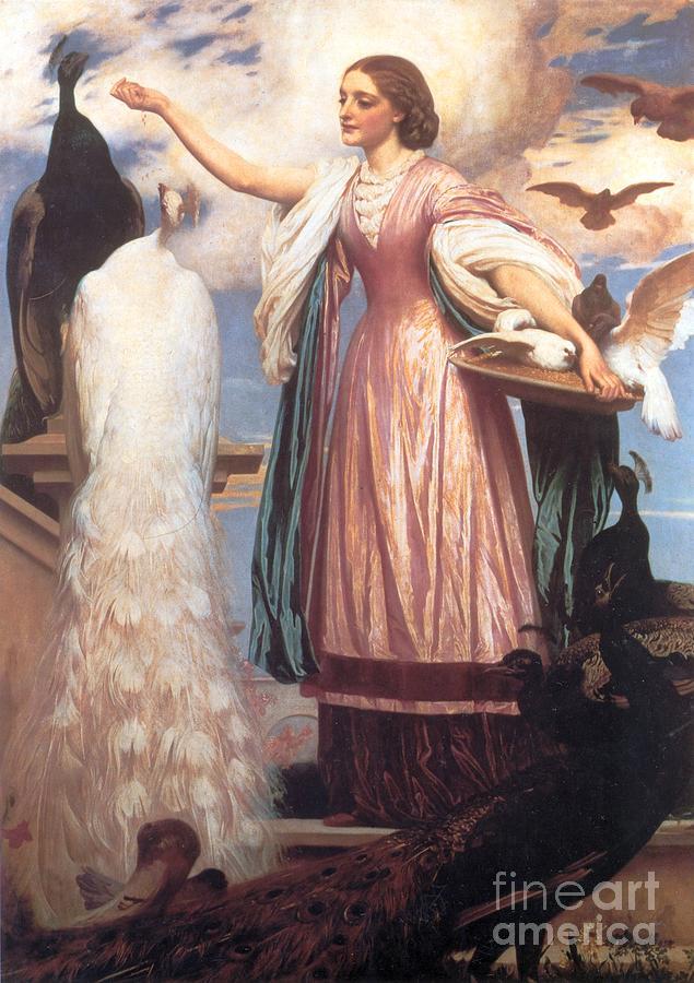 Girl Painting - A Girl Feeding Peacocks by Frederic Leighton
