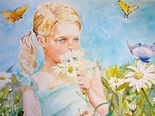 Butterfly Painting - A Girl In The Garden by Dorothy Herron